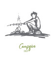boy campfire summer rest scout concept hand vector image vector image