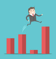 businessman jumping over gap vector image vector image