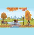 couple people in love on bridge autumn vector image vector image