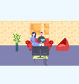 couple watching tv man woman sitting on couch vector image vector image