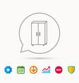 cupboard icon wardrobe furniture sign vector image