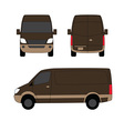 Delivery van brown three sides vector image vector image