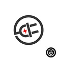 electric plug in wire icon power source logo vector image