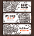 fast food monochrome horizontal banners vector image