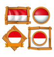 flag of indonesia in different frames vector image vector image
