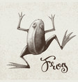 frog painted in engraving style eps8 rgb vector image vector image