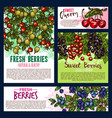 garden and wild berry fruits posters vector image vector image