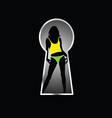 girl pose front the keyhole vector image vector image
