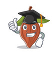 Graduation cacao bean character cartoon vector image
