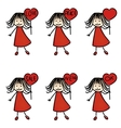 hand drawing girls with plates vector image vector image