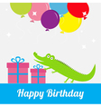 Happy Birthday card with cute alligator giftbox vector image