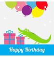 happy birthday card with cute alligator giftbox vector image