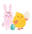 happy easter bunny chicken with eggs ornament vector image