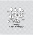 happy first birthday greeting card vector image