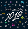 Happy New Year 2016 silver card background vector image