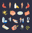 isometric probiotics icons collection vector image vector image