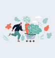 man with a shopping cart running in grocery store vector image vector image