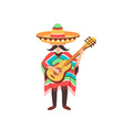 mexcian guy with guitar vector image