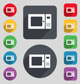 microwave icon sign A set of 12 colored buttons vector image vector image