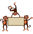 monkey cartoon with blank board vector image vector image