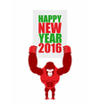 Monkey holds a plate of Happy new year 2016 Big vector image vector image