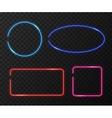 Neon frames set on black transparent vector image