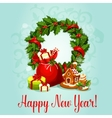 New Year design with holly wreath and gift vector image vector image