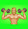 pop art strong man with dumbbells vector image