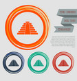 pyramid icon on red blue green orange buttons vector image vector image