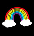 rainbow icon two clouds in sky colorful line vector image