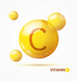 realistic detailed 3d vitamin c background card vector image vector image