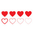 red hand drawn grunge heart icons set heart frame vector image vector image