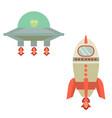 rocket and ufo cartoon or rocket and ufo vector image