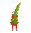 santa carry big christmas tree claus and huge vector image vector image