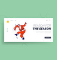 santa claus in red costume dancing landing page vector image vector image
