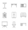 school furniture icons set outline style vector image vector image