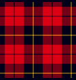 scottish plaid in red black yellow wallace vector image