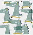 seamless pattern with crocodile creative bay vector image vector image