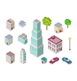 set city buildings in isometric projection vector image