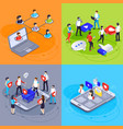 social media isometric concept digital marketing vector image vector image