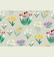 spring colorful pattern on a green background vector image vector image