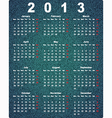 Stylish calendar for 2013 on denim background vector image
