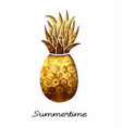 summer gold pineapple design for vacation season vector image