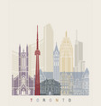 toronto skyline poster vector image vector image