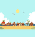 tropical beach with resort houses or bungalows vector image vector image
