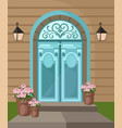 vintage entrance door facade background vector image