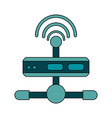 white background with wireless router network vector image