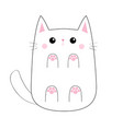 white cute sad cat baby kitten bottom below view vector image