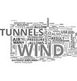 wind tunnels text word cloud concept vector image vector image