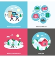 Winter 4 Flat Icons Square Banner vector image vector image